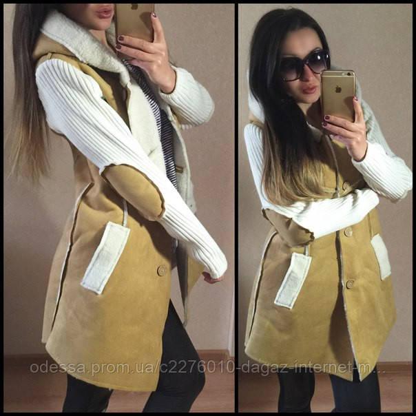 """Комбинированное пальто из искусственного дубляжа на натуральной овчине с капюшоном """"Имидж"""" S - Dagaz ™ - интернет магазин в Одессе"""