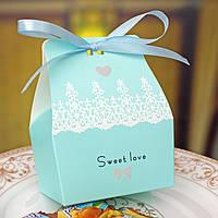 """Бонбоньерки """"Sweet love"""" в голубом цвете, оригинальные бонбоньерки, коробочки для конфет"""
