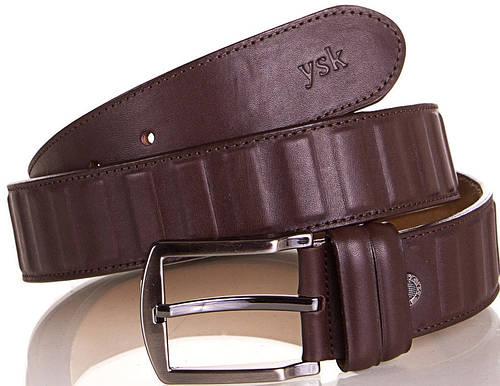 Необычный мужской кожаный ремень Y.S.K. (УАЙ ЭС КЕЙ) SHI4041-10 коричневый