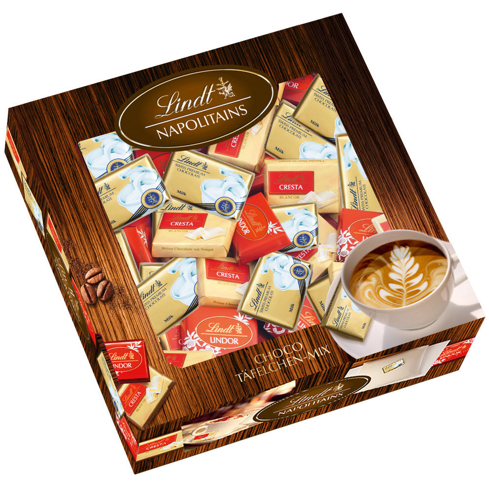 Коробка мини-шоколадок Lindt Napolitains микс 3 вида, 120шт., 792г