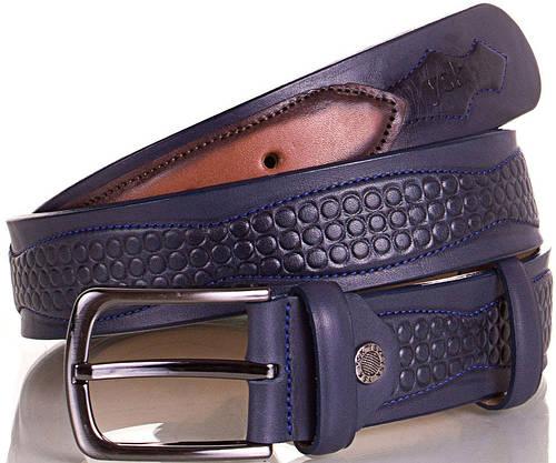 Модный мужской кожаный ремень Y.S.K. (УАЙ ЭС КЕЙ) SHI4040-6 синий