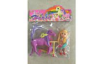 Кукла маленькая с лошадкой и самокатом