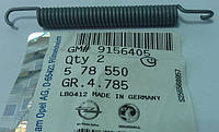Пружина возвратная (L=82 mm) троса стояночного (ручного) тормоза крепится к рычагу (лапке , крючку) колодок ручника GM 0578550 0578583 9156405 OPEL