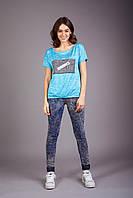 Жеская легкая футболка из шелковистой вискозы голубой