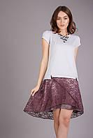Красивая женская юбка лилового цвета