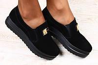 Закрытые туфли на резинке из замши
