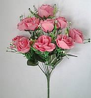 Букет искусственных цветов Роза однотонная с добавкой гипсофила , 45 см