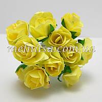 Розочки, 1,5-2 см,  бумага, цвет желтый