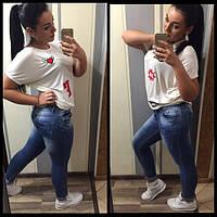 Женские узкие джинсы, батал.