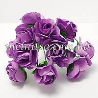 Розочки, 1,5-2 см,  бумага, цвет фиолетовые