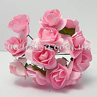 Розочка, 1,5-2 см,  бумага, цвет св.розовый,  12шт.