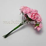 Розочка, 1,5-2 см,  бумага, цвет св.розовый,  12шт., фото 2