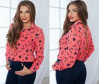 Шифоновая розовая рубашка батал с рисунком  Арт-5103/48