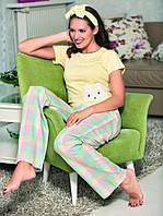 Нежно желтая пижама женская из хлопка