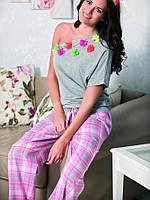 Весенняя пижама женская с штанами 100%хлопок