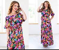"""Шифоновое платье в пол больших размеров принт """"цветы"""". Арт-5106/48"""