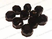 Бусины акриловые гранёные чёрные, диаметр 8 мм - 1 шт.
