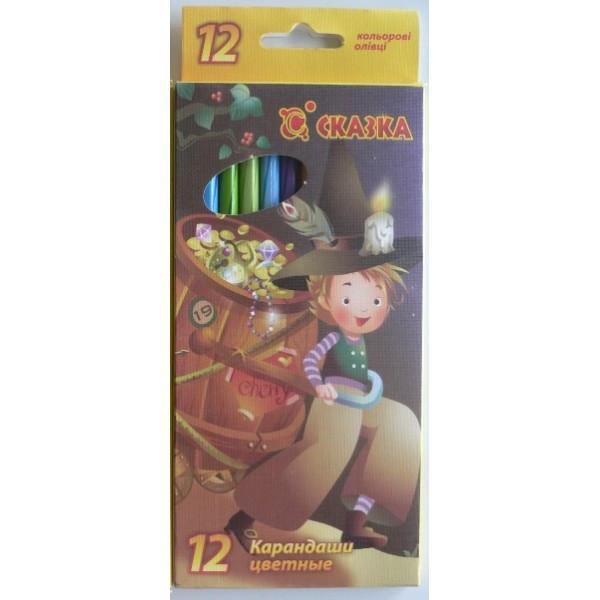 Карандаши цветные Сказка 70012-12цв