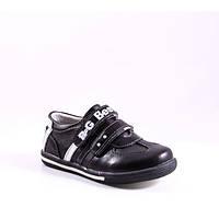 Кожаные кросовки-туфли B&G для мальчика, черные, размер 27 (17,5см)