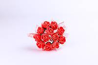 Розочки латексные красные с фатином 1,5 см на проволоке