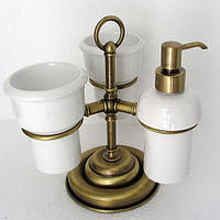 Бронзовый настольный набор аксессуаров для ванной 3 в 1 PACINI & SACCARDI OGGETTI APPOGGIO 30118D