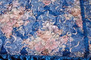 Покрывала в цветок 180*210 атлас синий, фото 2