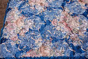 Покрывала в цветок 180*210 атлас синий, фото 3