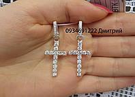 Серебряные серьги Кресты с камнями