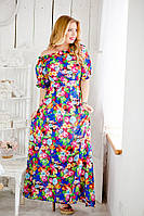 Модное шифоновое платье в пол цветное батал. Арт-5112/48