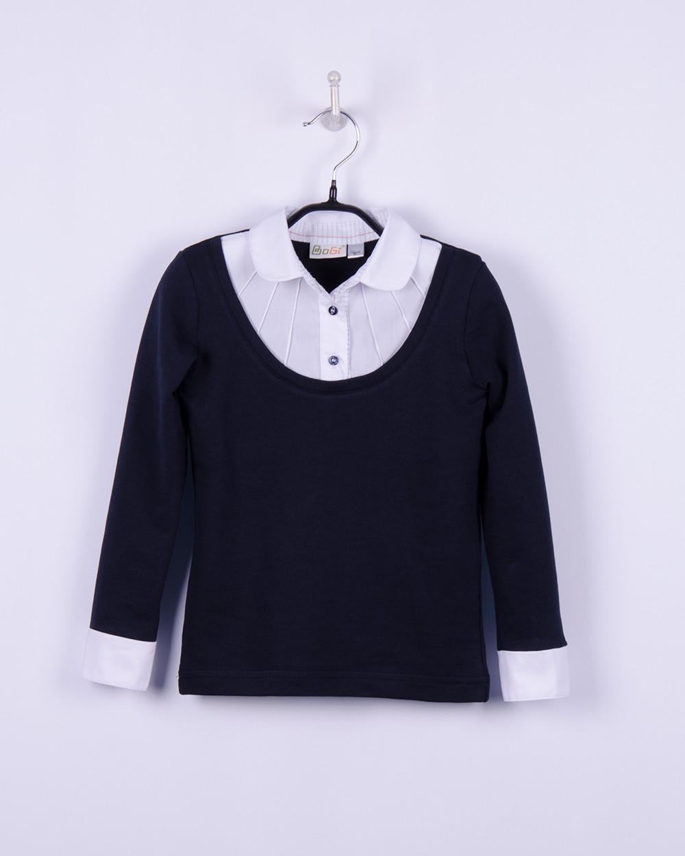 Трикотажная рубашка - обманка для девочки, BOGI (Божи), синяя