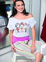Женская пижама с бриджами 100% хлопок