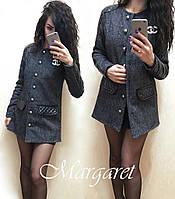 Куртка Chanel стильная на пуговицах со вставками из экокожи SRN29