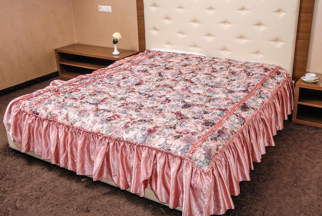 Покрывала цветок атлас розовый 180*210