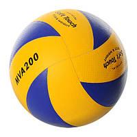 Мяч волейбольный MS 0162 MIKASA, офиц.размер, ПУ 1,8 мм, 8 панелей, бесшовный, 260-280г