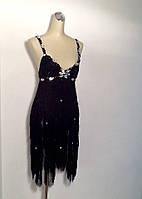 Платье A&B банкетное шелковое бахрома черное