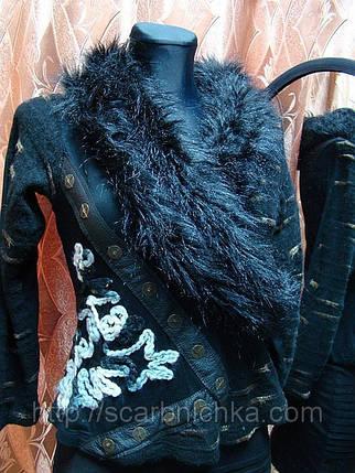 Кофта женская, воротник- мех, черная  125808 В наличии Цена розн: 107.00 грн. Цена опт: 90.00 грн. , фото 2
