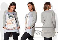 Женская батальная кофта с карманами принт кошка