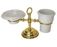 Настольный набор аксессуаров для ванной золотой PACINI & SACCARDI OGGETTI APPOGGIO 30121