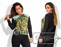 Батальная женская кофта с принтом леопарда спереди