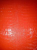 """Натуральная кожа КРС """"Лак рептилия"""", цвет красный"""