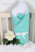 Конверт-одеяло (плед) мятный для новорожденного на выписку/в коляску. Весна/Лето