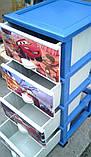 Комод пластиковый Еlif (Элиф), с рисунком Тачки 5, фото 4