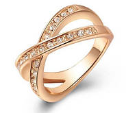 Позолоченное кольцо с цирконами р 16 17 18 19 код 939