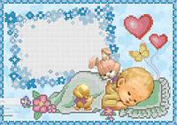 Схема для вышивания бисером Метрика для мальчика(зайка) КМР 4172