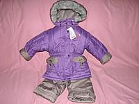 Зимний термокомбинезон девочкам р.92 фиолетовый с серым, лютый мороз не страшен
