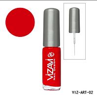 Лак для рисования с тонкой кисточкой Vizavi красный