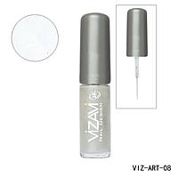 Лак для рисования с тонкой кисточкой Vizavi белый перламутр