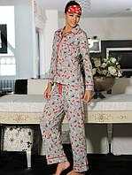 Пижама хлопковая с рубашкой и брюками