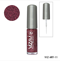 Лак для рисования с тонкой кисточкой Vizavi бордовый с микроблестками