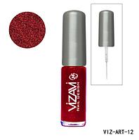 Лак для рисования с тонкой кисточкой Vizavi бургунд с микроблестками